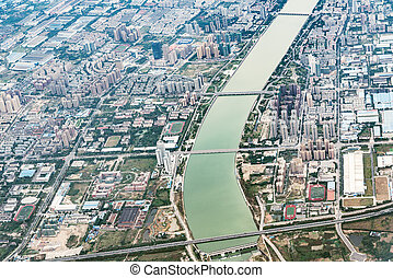 Aerial view of Chengdu district.