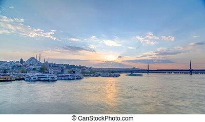 Passenger Ferries in the Golden Horn at sunset timelapse,...