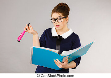 Confused business woman thinking about problem solution -...