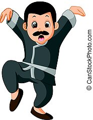 funny kung fu Cartoon - illustration of funny kung fu...