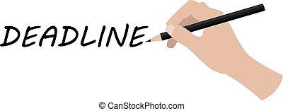 Hand writing deadline, vector