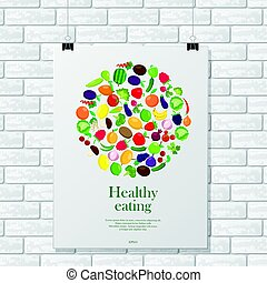 Gray brick wall with healthy poster