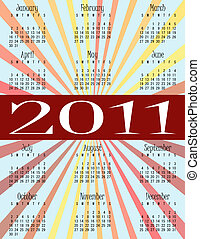 2011 Calendar on a Rainbow Sunburst Background
