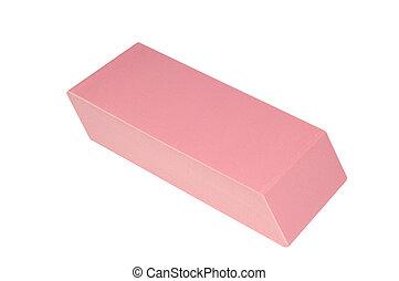 primer plano, vista, grande, rosa, borrador, aislado, blanco