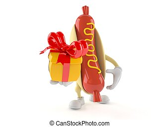 Hot dog character holding gift