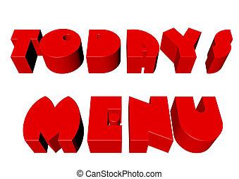 menu,  3D