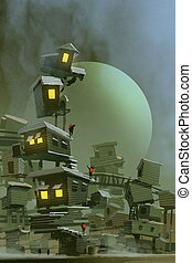 the fantasy village with stacked houses - digital art of the...