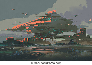 futuristic colony on a planet with mega structures - digital...