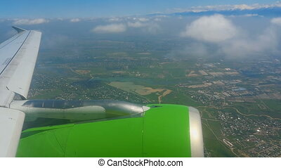 Aerial view from descending airplane