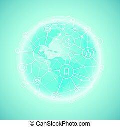 Modern global network abstract svheme. Vector illustration
