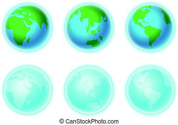 Different Earth sides isolated on white. Infographic...