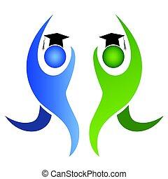 the graduation logo - isolated graduation logo on white...
