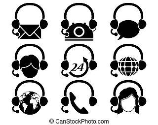 headset hotline icon set - isolated headset hotline icon set...