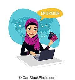 Arab woman sitting at table in office and working for...