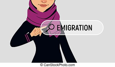 Muslin woman is writing EMIGRATION in search bar on virtual...