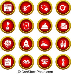 April fools day icon red circle set