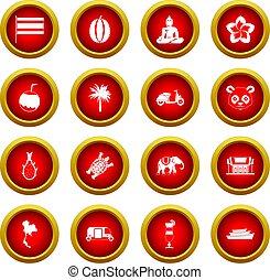 Tailandia, círculo, Conjunto, rojo, icono