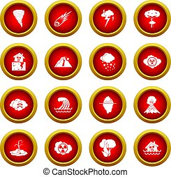 Natural disaster icon red circle set isolated on white...