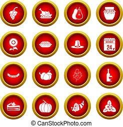 Thanksgiving icon red circle set