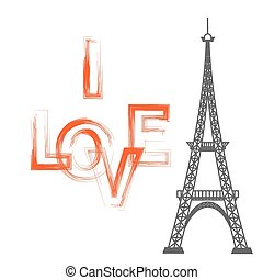 Eiffel Tower Silhouette and I Love You Text