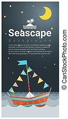 Seascape background with Colorful paper ship
