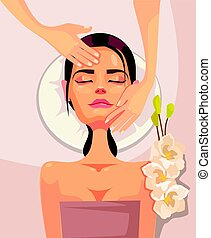 Happy smiling young woman character having anti aging spa massage in beauty salon. Vector flat cartoon illustration