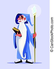 Happy smiling old magician character with white beard hold...