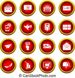 Poste service icon red circle set isolated on white...