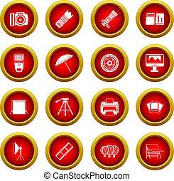 Photo studio icon red circle set isolated on white...