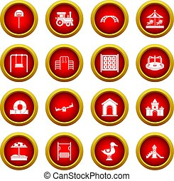 Playground icon red circle set isolated on white background