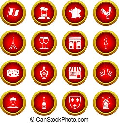 France travel icon red circle set