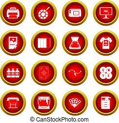 Printing icon red circle set