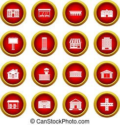 City infrastructure items icon red circle set isolated on...