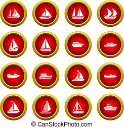 Boat and ship icon red circle set