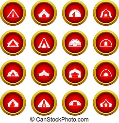 Tent forms icon red circle set