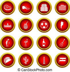 Argentina travel items icon red circle set isolated on white...
