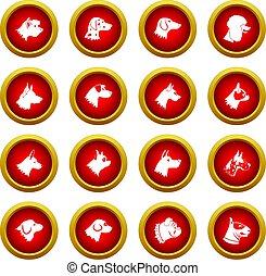 Dog icon red circle set isolated on white background