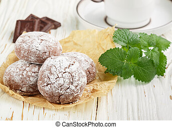 cookies with powdered sugar. Chocolate Crinkles. Selective...