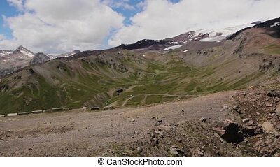 Walking of the mountains of the Elbrus region - Slope of the...
