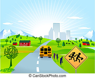 school bus and school children