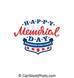 Happy memorial day card. American national holiday. Vector...
