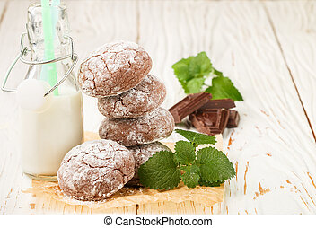 Chocolate Crinkles. cookies with powdered sugar. Selective...