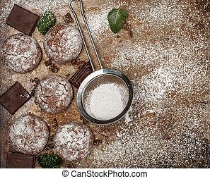 Chocolate Crinkles. Cooking cookies with powdered sugar....