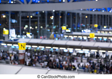 blurry check-in counter in modern airport