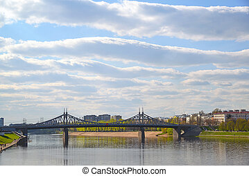 Starovolzhsky bridge from Volga in Tver, Russia