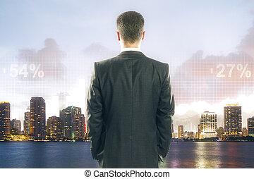 dall'aspetto, città, tabelle, uomo affari