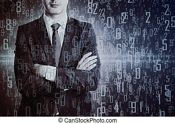 Businessman with digits - Businessman with folded arms on...