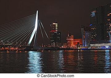 Rotterdam skyline with Erasmus bridge, Netherlands -...