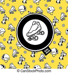 Sign roller derby and seamless pattern on the theme of...