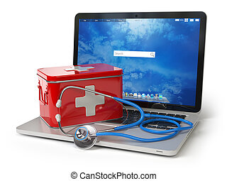 First medical aid or technical support concept. Laptop with first aid kit and stethoscope isolated on white.